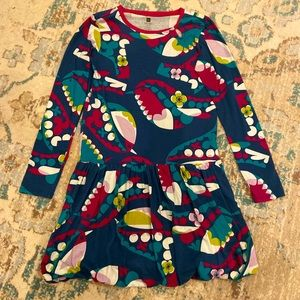 Tea Collection Colorful Long Sleeved Bird Dress